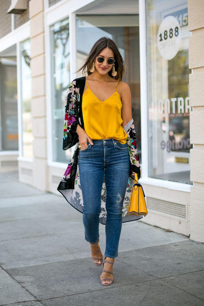 92afc97432 Nice yellow tank Denim Jeans Outfits 2019 on Stylevore