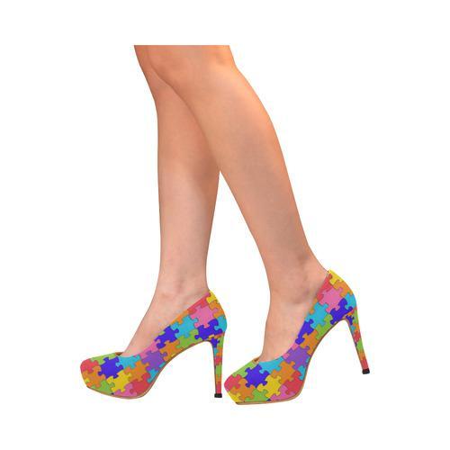 Multicolored Jigsaw Puzzle Women's High Heels (Model 044)