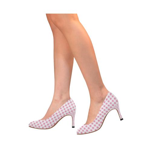 Petal Pink Gingham Women's High Heels (Model 048)