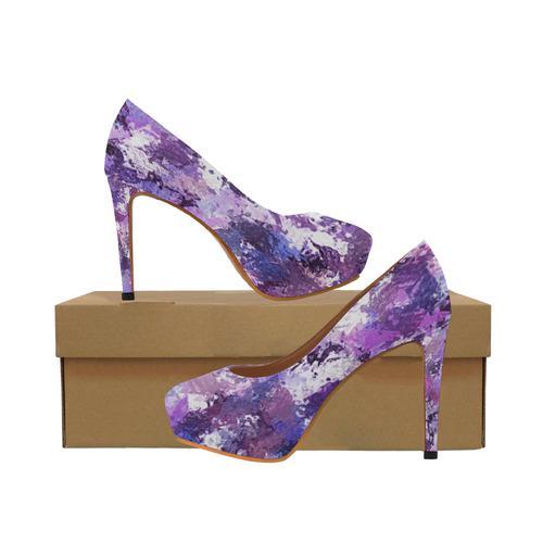 Purple Paint Splatter Women's High Heels (Model 044)
