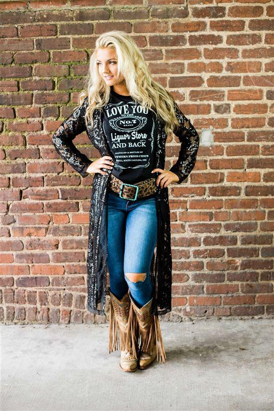 Southern Fried Chics The Royal Sequin Duster – Black