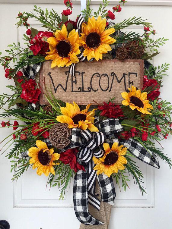 Sunflower wreaths, Sunflower Wreath, Hessian fabric
