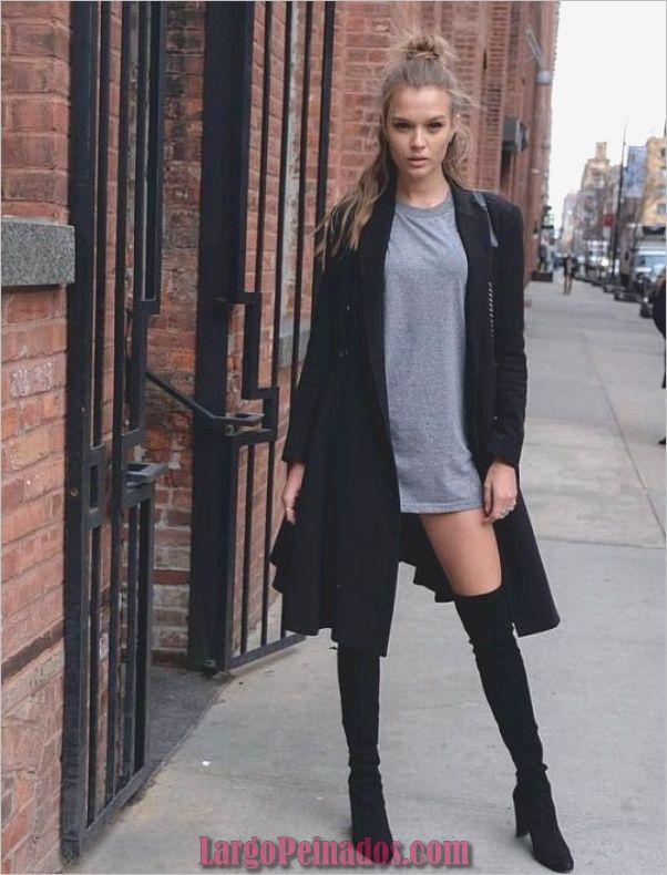 Casual outfits Josephine Skriver, Knee-high boot