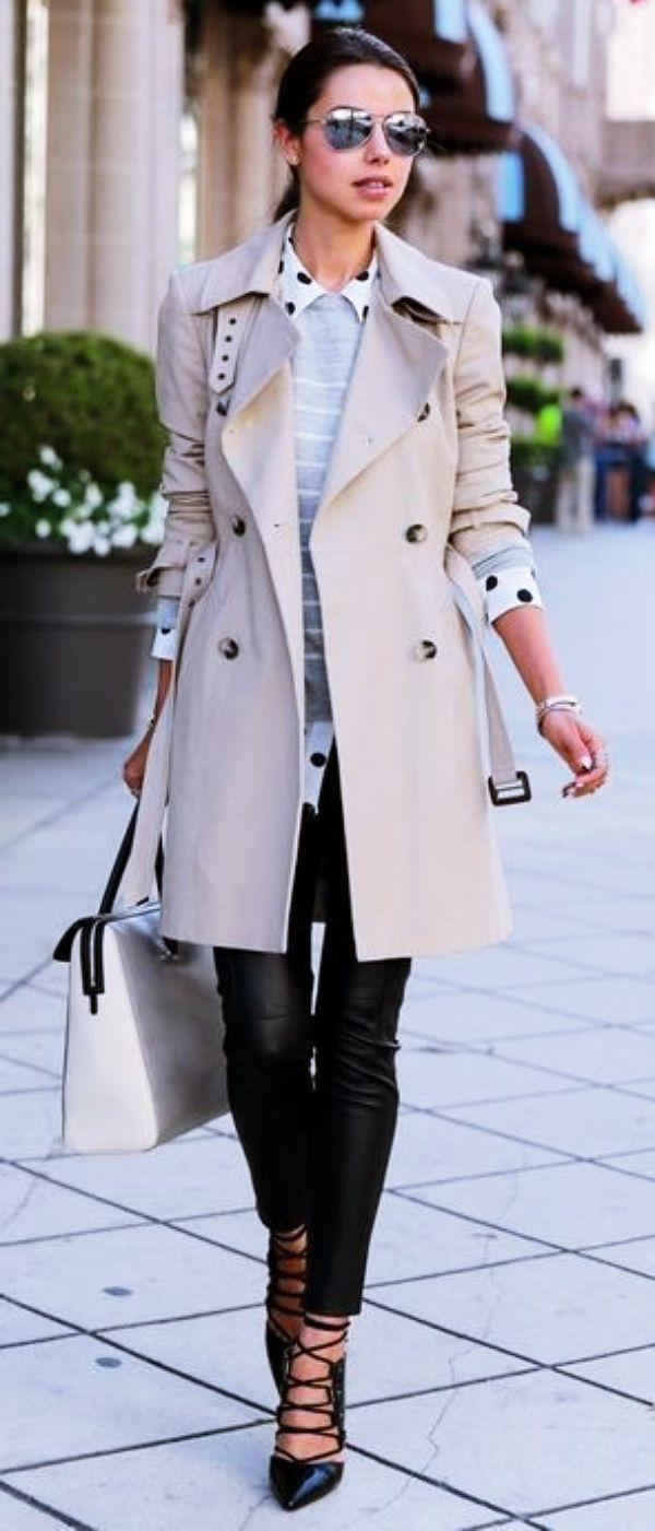 white trench coat casual outfits trench coat polo neck