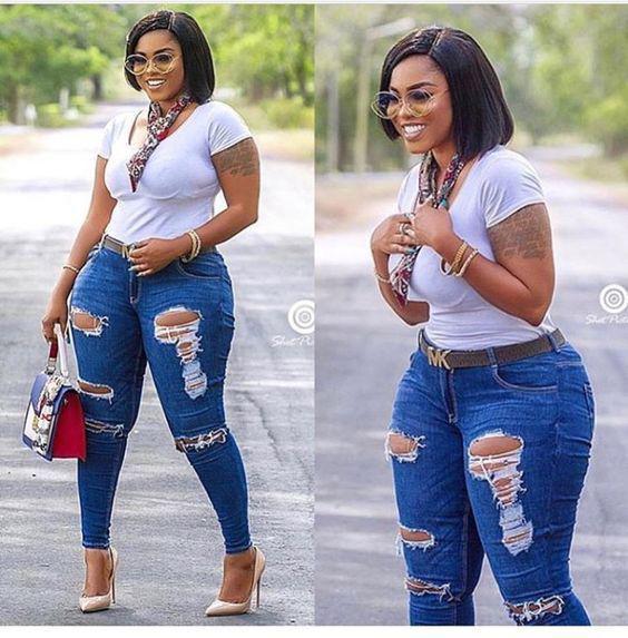 Black Girls Slim-fit pants, Sexy Jeans