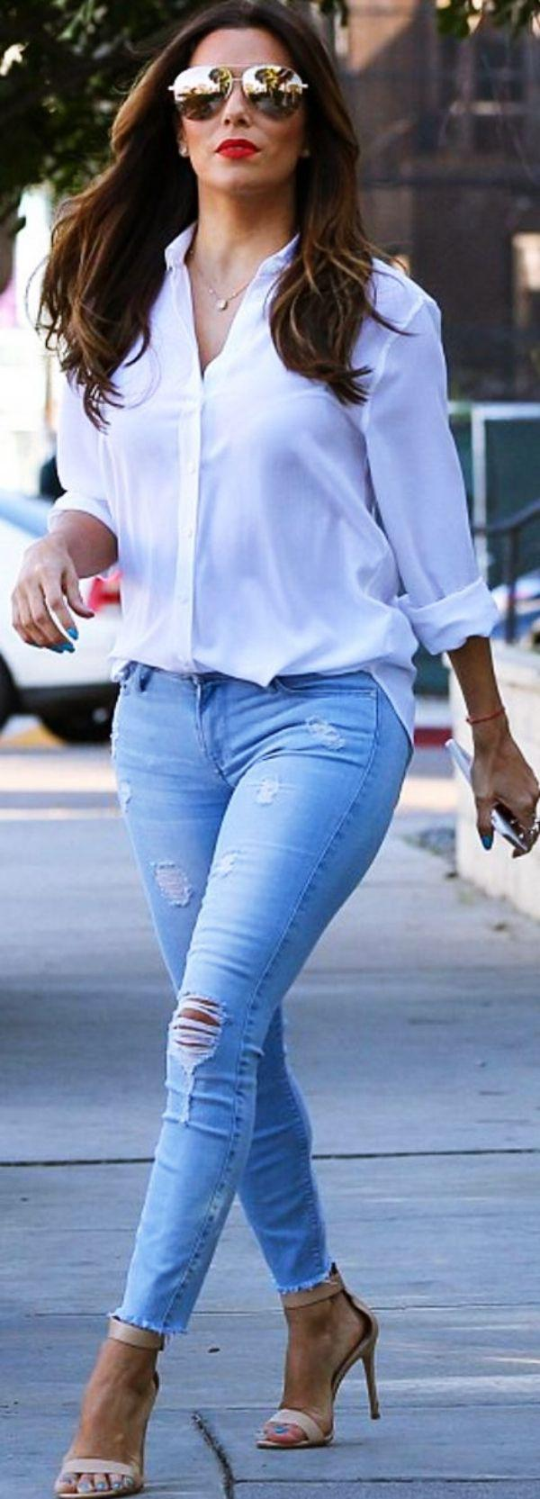 light blue jeans. light blue jeans. 40 Attractive Street Fashion Looks for 2018