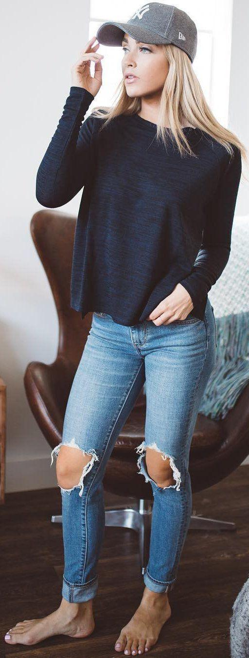 casual jeans outfit. 40 Awesome Winter Outfits