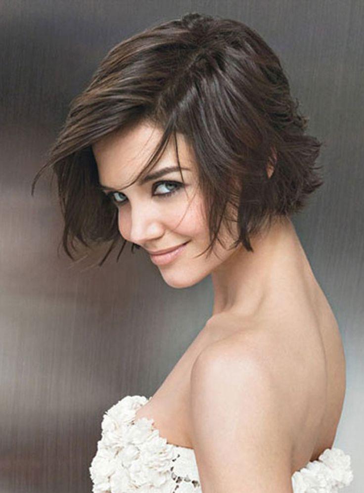 Dark Brown Layered, Pixie Haircut Katie Holmes