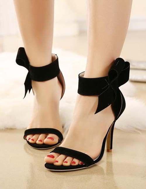 Black Round Toe Stiletto Bow Fashion High-Heeled Sandals