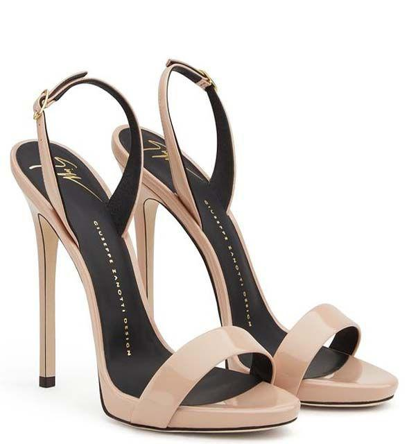 Back Strap Stiletto Heel Sandals. Blush patent leather buckle covered stiletto heel sandal
