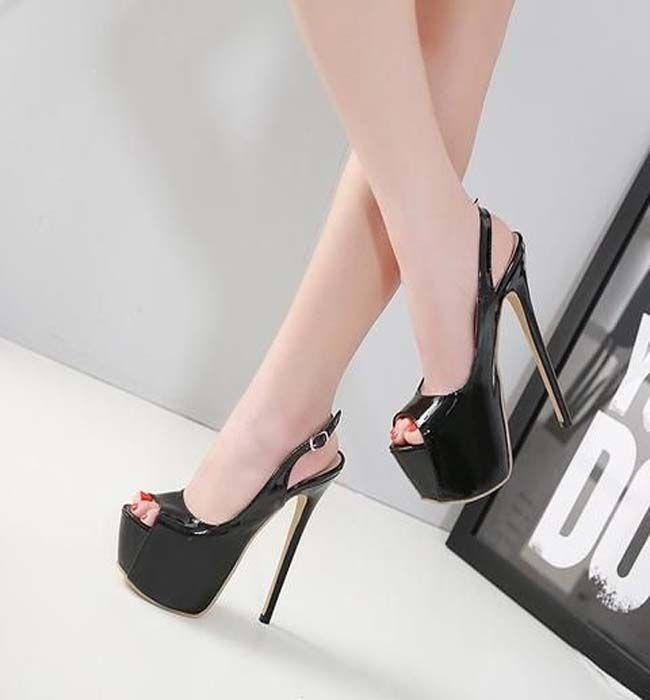 64a0dc9e3 Black 7′ High Heel Ankle Strap Patent Leather Sexy Shoes. Buckle Women Fashion  Peep