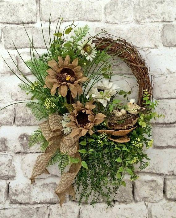 Burlap Summer Wreath for Door, Front Door Wreath, Sunflower Wreath, Outdoor Wreath, Burlap Wreat ...