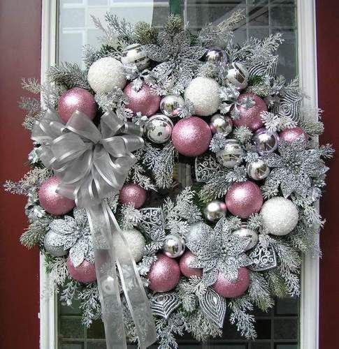 Pink Christmas wreath. Pink Christmas wreath. Easily made. Spray wreath with silver metallic pai ...