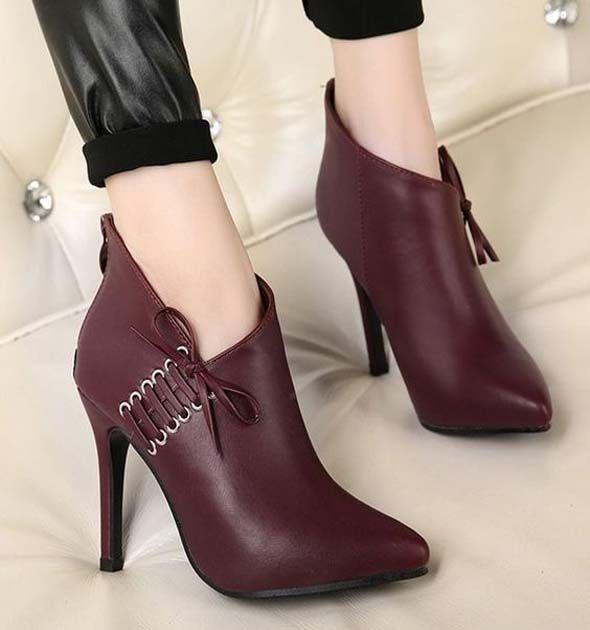 Trendy High Heels. Fashion Women High Stiletto Heel Zip Pointy Toe Size Lace Up Party Shoes