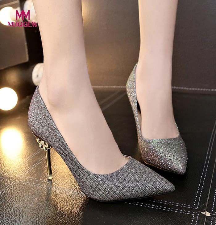 d729fea858c High Heel Pumps. Fashion Women Shoes Solid Color Paillette Pointed ...