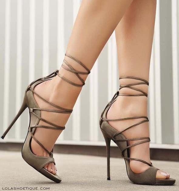 3901ef491 Gladiator Lace up High Heel. Gorgeous green lace up Heels Sandals on ...