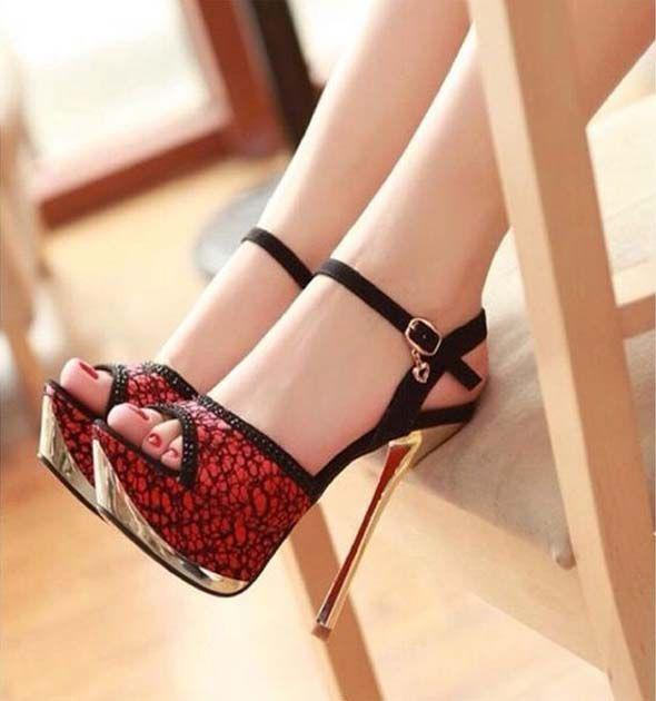 Black 7′ High Heel Ankle Strap Patent Leather Sexy Shoes. High Heel Strap Fashion Sandals 2019