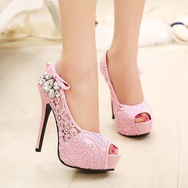 Stiletto Heel Shoes. High heel pastel lace party shoes with bow