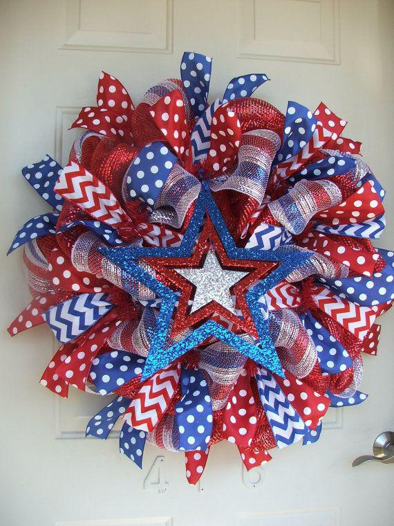 Patriotic, 4th of July, USA Deco Mesh Wreath