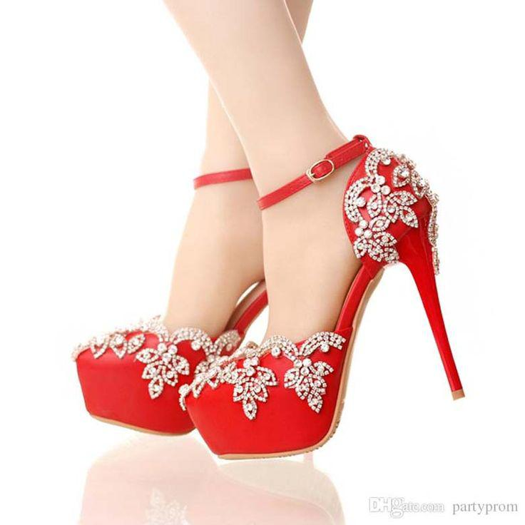 High Heel Shoes. Red High Heels for Wedding with Rhinestone