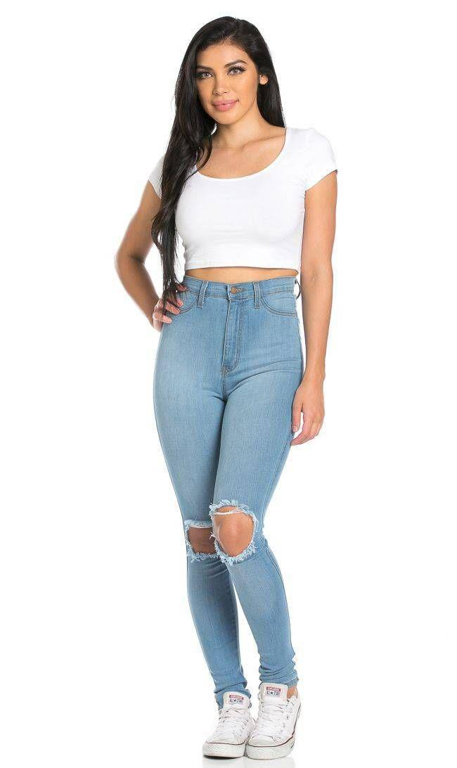 Ripped Knee Super High Waisted Skinny Jeans. Ripped Knee Super High Waisted Skinny Jeans. Ripped ...