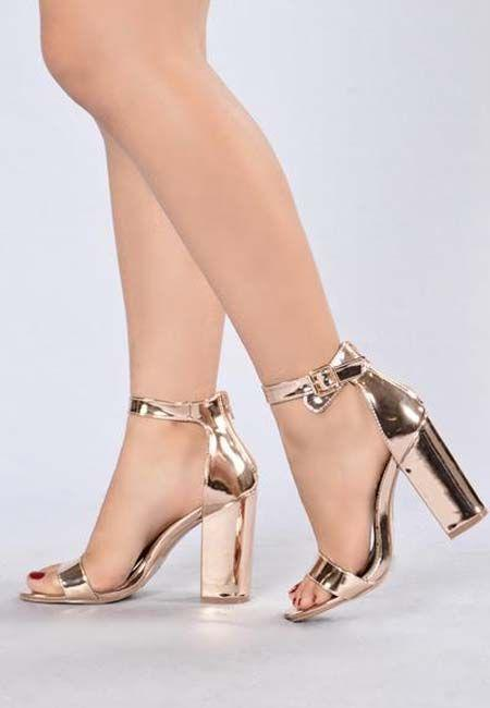 5061e6fd91b Gold Strappy Stiletto. Rose Gold Adjustable Buckle Chunky Heel Back Zipper 4  Inch Heel
