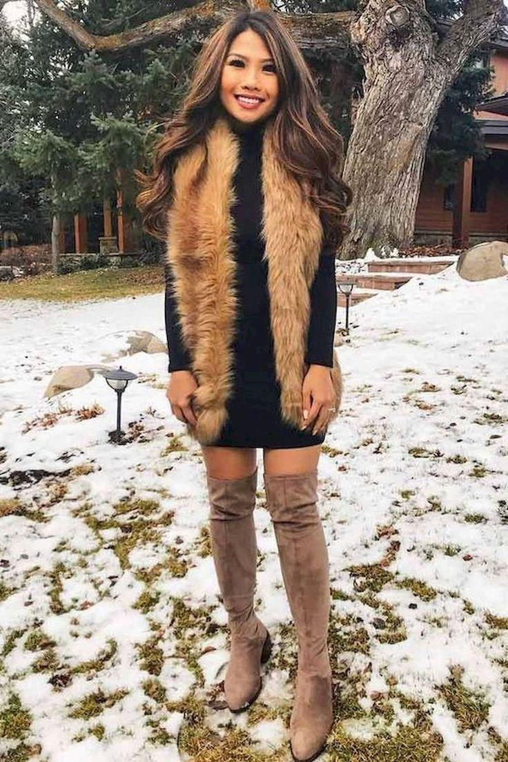 Business casual outfit tan knee high boot