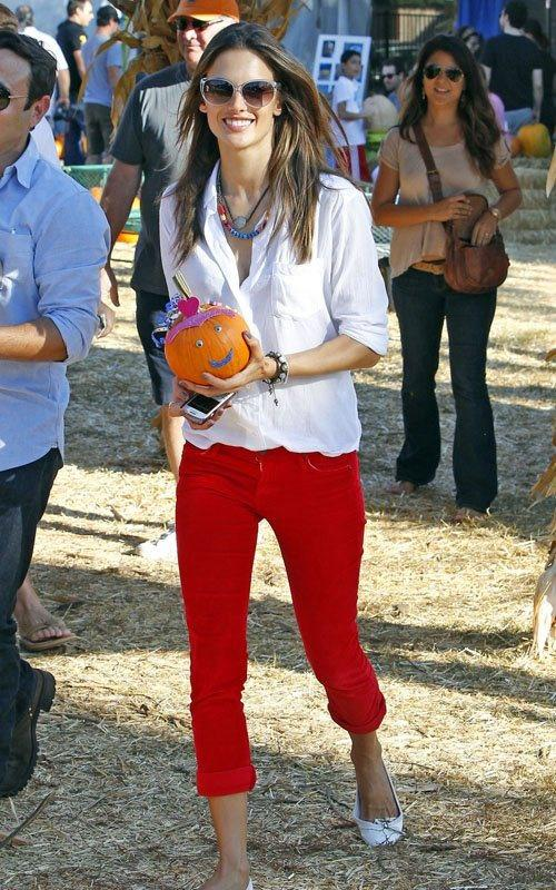 Red Engine Jeans. Steal Alessandra Ambrosio's Look: White Shirt + Red Pants