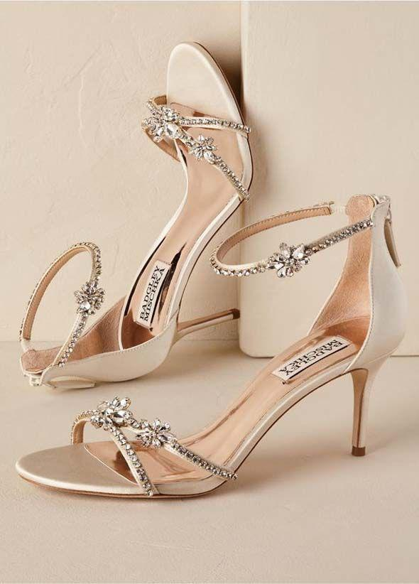 Strappy Crystal Heel. Strappy Crystal Heel in Gold Wedding Shoes