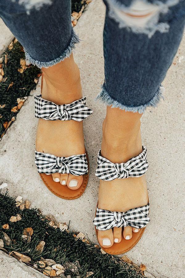The Brinkley Gingham Bow Sandal