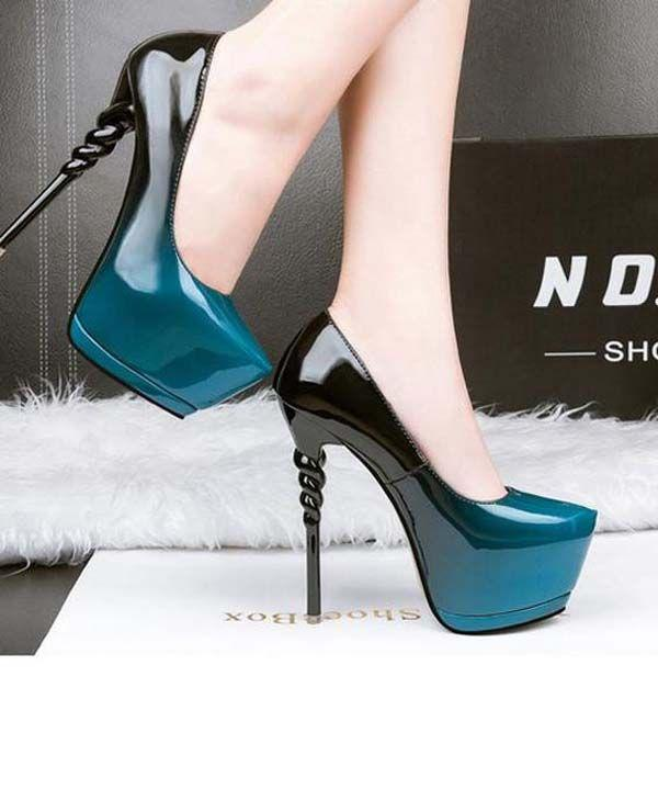 Thin Hiigh Heel Leather Pump Color Change Party Shoes
