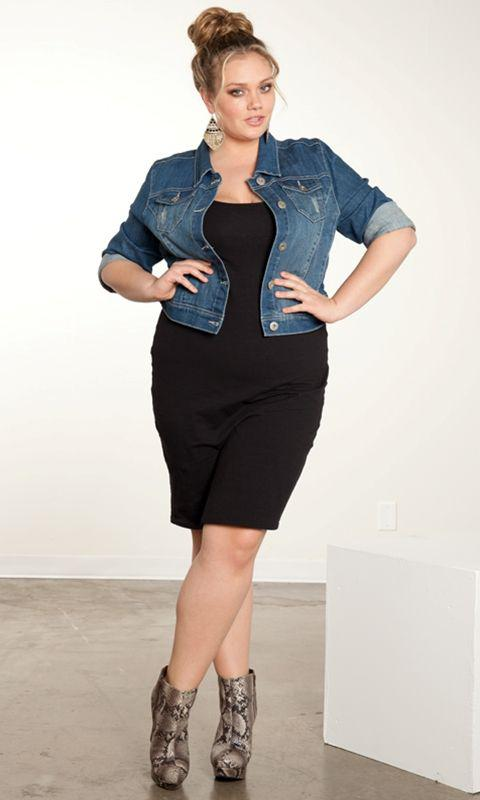 Plus Size Jeans, Bun hairstyle with Jean jacket, Plus-size clothing