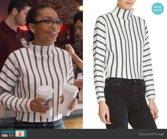maje Mesh Stripe Crop Sweater