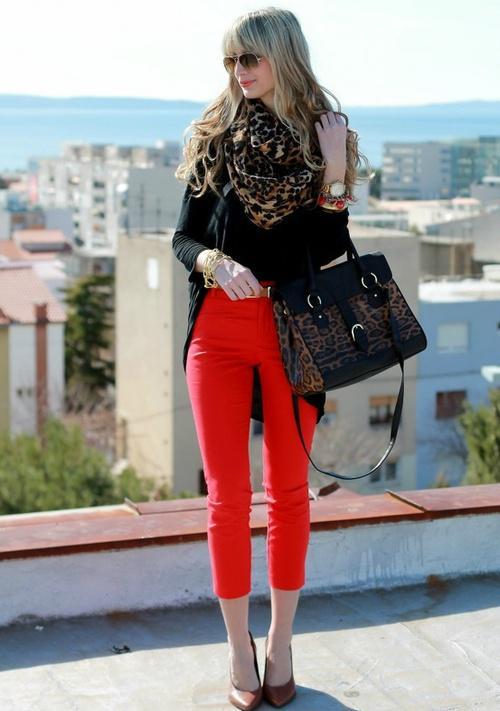 Blue Skinny Jeans. red, black & cheetah