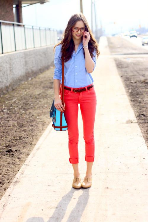 And Red Shirt. tan brogues