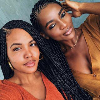 Black Girl Box braids, French braid