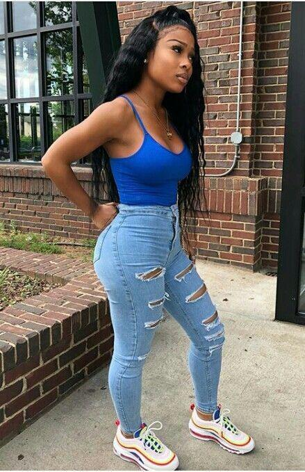 high waisted jeans outfit for black girls on stylevore