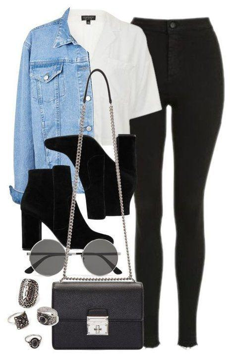 Black Outfits Polyvore, Fall Outfit Casual wear, Jean jacket