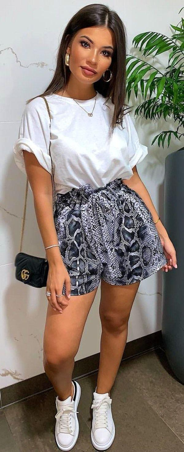 Snake Print High Waisted Shorts