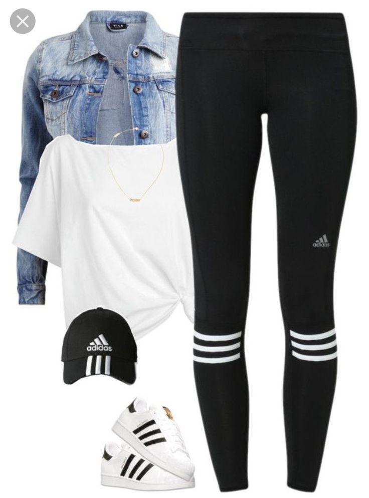 983b914778092 Adidas workout outfit, Leggings Casual Outfits, Adidas Superstar on ...