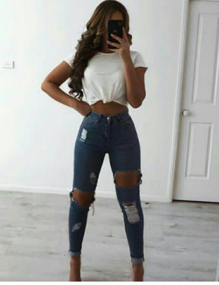 Urban Outfit Slim-fit pants, Crop top