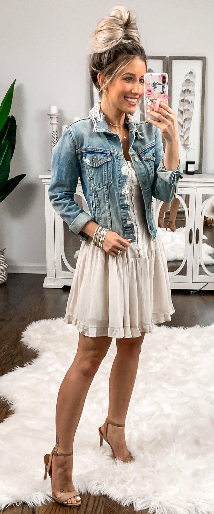 a591cec10d blue denim jacket  summer  outfits style on Stylevore