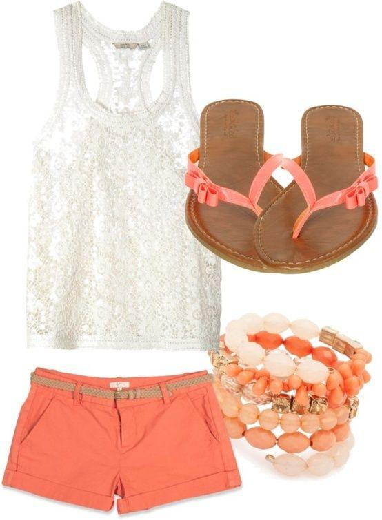 Coral Shorts Outfit, Polyvore Summer Casual wear, Coral Shorts