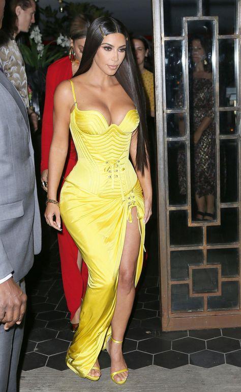 Red Carpet Fashion Party Outfit Kim Kardashian Kanye West On Stylevore