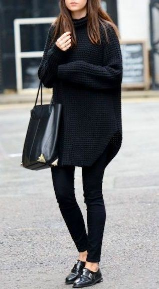 Black sweater and leggings outfit women