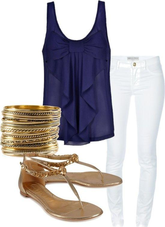 Bow Blouse White, Polyvore Summer Navy blue, Clothing Accessories