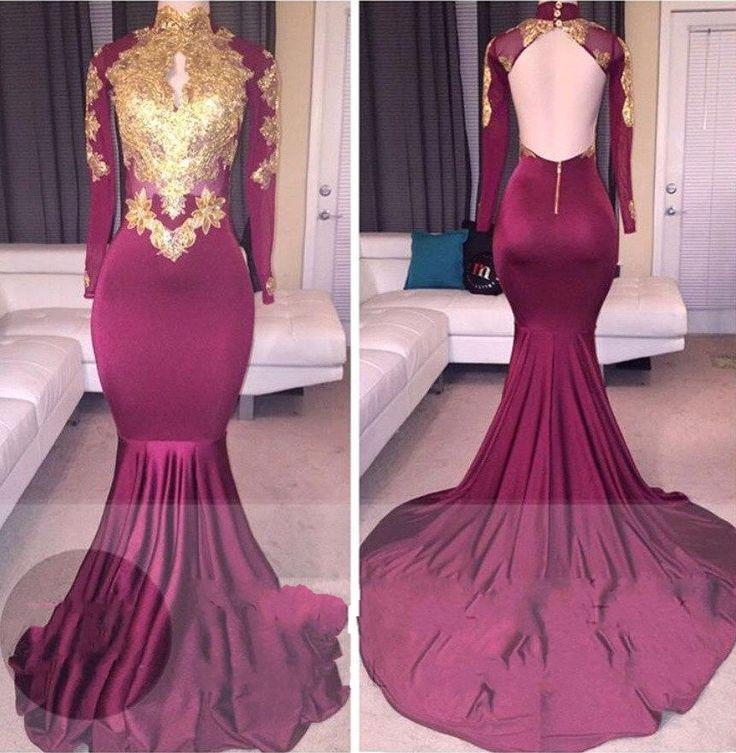Gold lace appliques high neck long sleeves open back maroon mermaid prom dress on stylevore - Div style padding ...