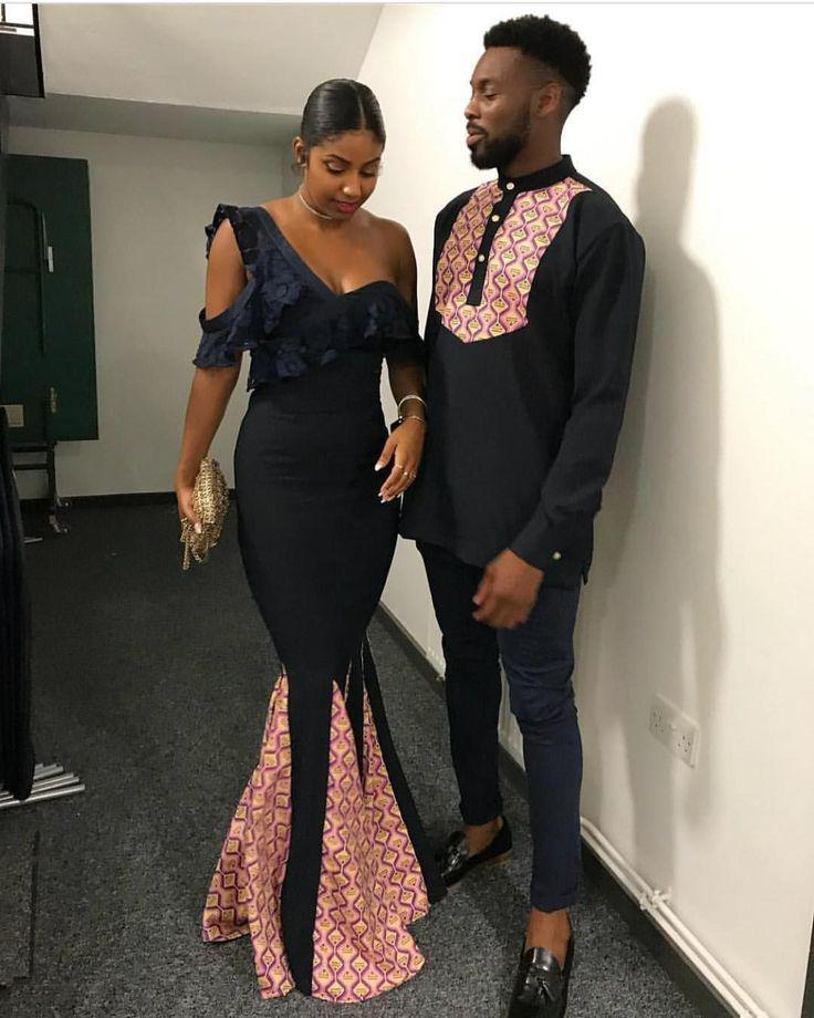 African couple matching wedding dress