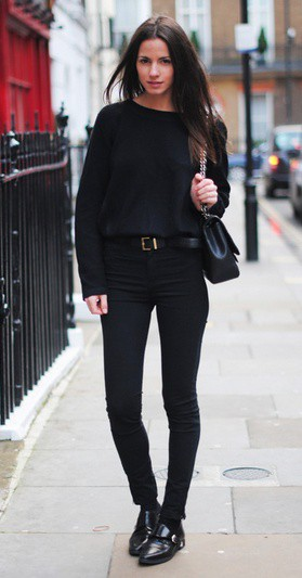 Black sweater and jeans outfit
