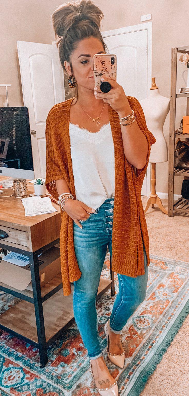 orange cardigan #summer #outfits style